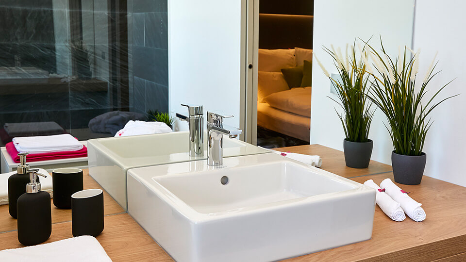 Das Badezimmer im Loxone Showroom in Klagenfurt