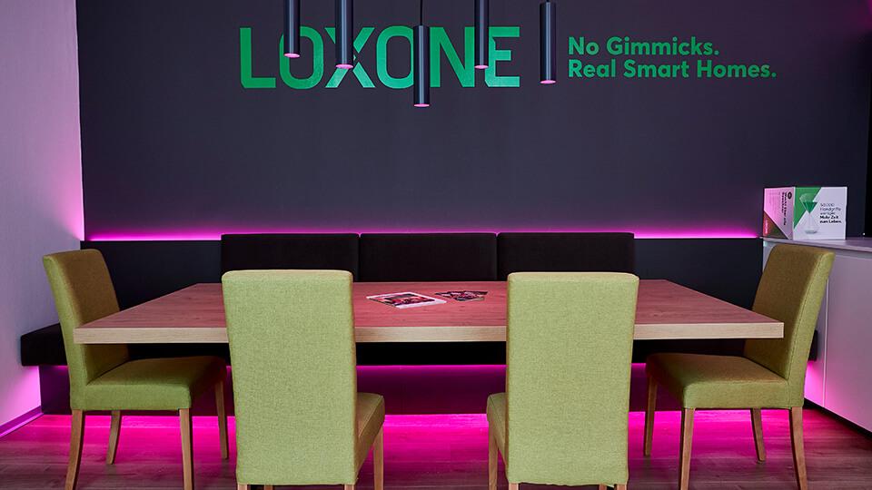 Der Essbereich im Loxone Showroom in Klagenfurt