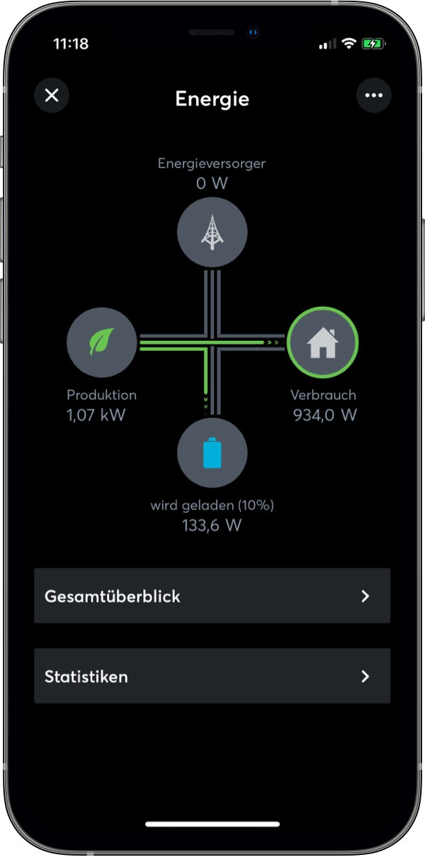 Energieflüsse in der Loxone App