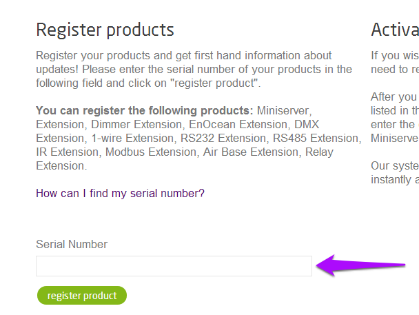 Loxone Product Registration- Find Your Serial Number