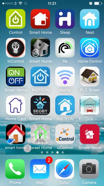 Skjermdump av for mange apper for smarte hjem