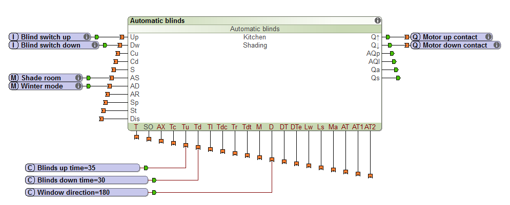 Example Screenshot Of Automatic Blinds Function Block With More Inputs and Settings In Loxone Config