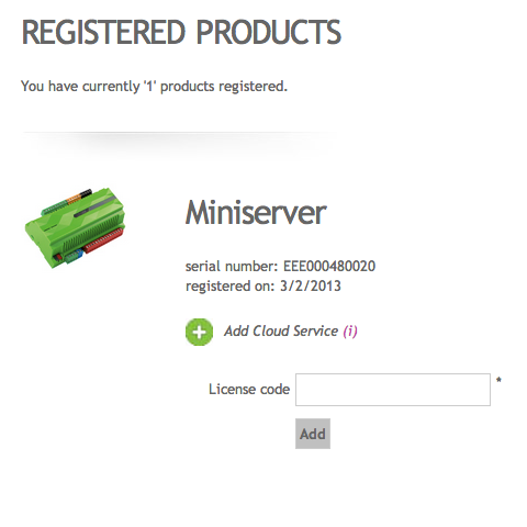 Example Screenshot Of Loxone Miniserver As Registered Products