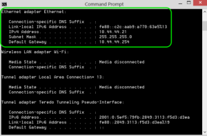 Command Prompt IP Config Details