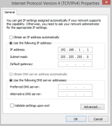 IPv4 Properties Adapter Settings