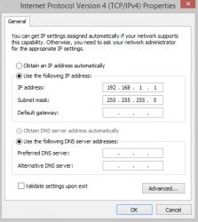 IPv4 Properties Adapter Settings