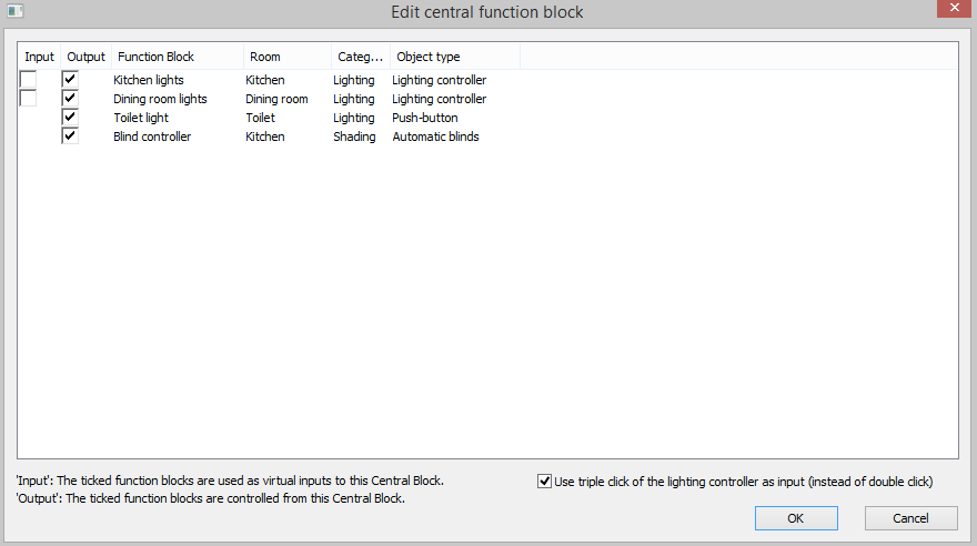 Example Screenshot Of The Inputs and Outputs Of Central Function Block In Loxone Config