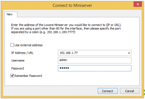 Connect to Miniserver Window