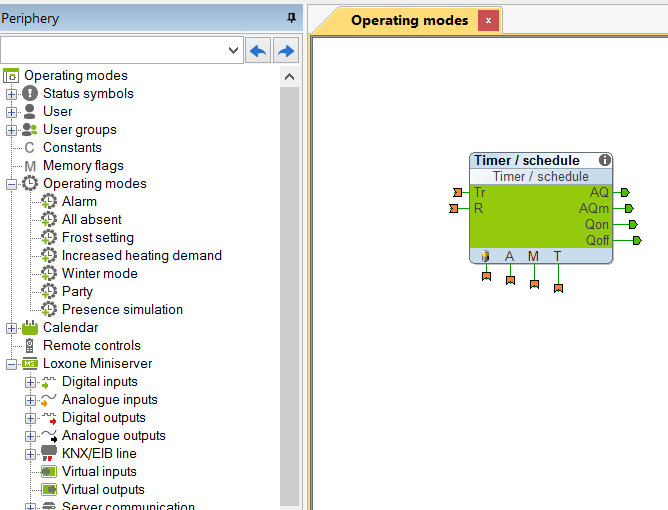 Creating Operating Mode In Loxone Config