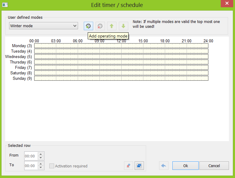 Creating Operating Mode In Loxone Config Timer Schedule