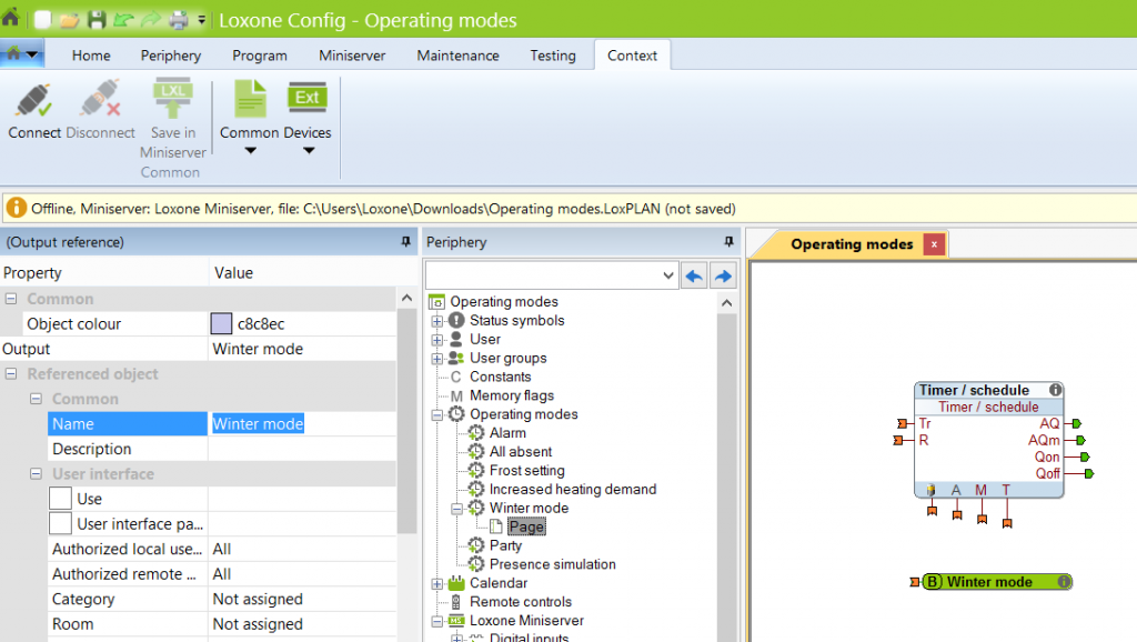Creating Operating Mode In Loxone Config Properties