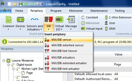 Example Screenshot Of Loxone Config Eib Sensor