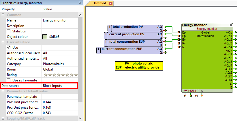 Example Loxone Config Energy Monitor Function Block