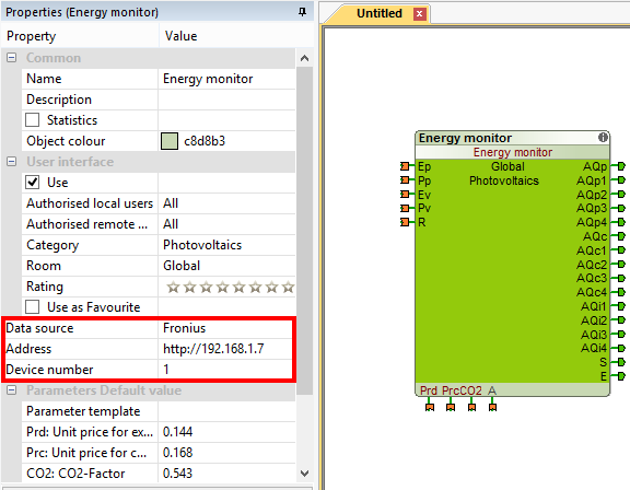 Example Loxone Config Energy Monitor PV Function Block