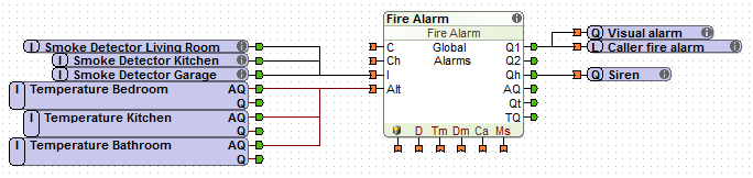 Loxone Fire Alarm Function Block With Inputs and Outputs