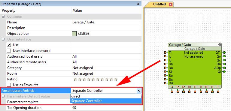 Example Screenshot Loxone Config Garage/Gate Controller Function Block