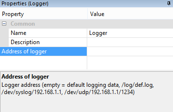 Example Screenshot Of Loxone Config Logger Properties