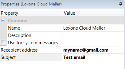 Properties Of The Mailer Service In Loxone Config