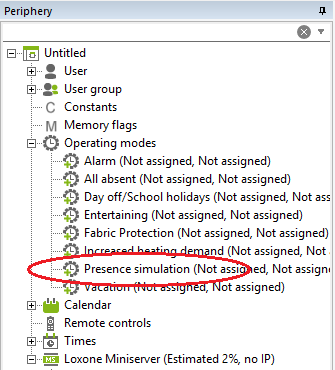 Example Config Loxone Presence Simulation Activation