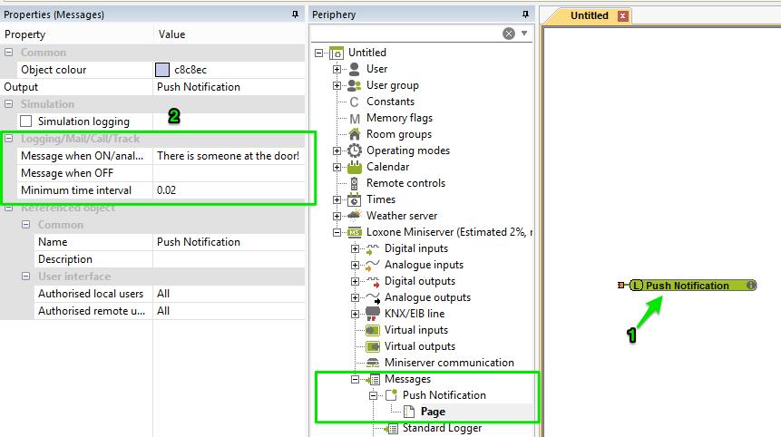 Screenshot Example Push Notifications F4 Properties Loxone Config