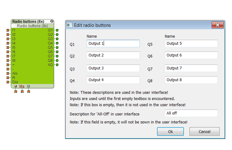 Example Screenshot Of Loxone Config Radio Buttons Function Block
