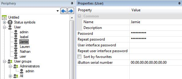 Example Screen Shot Adding Passwords to Users In Loxone Config