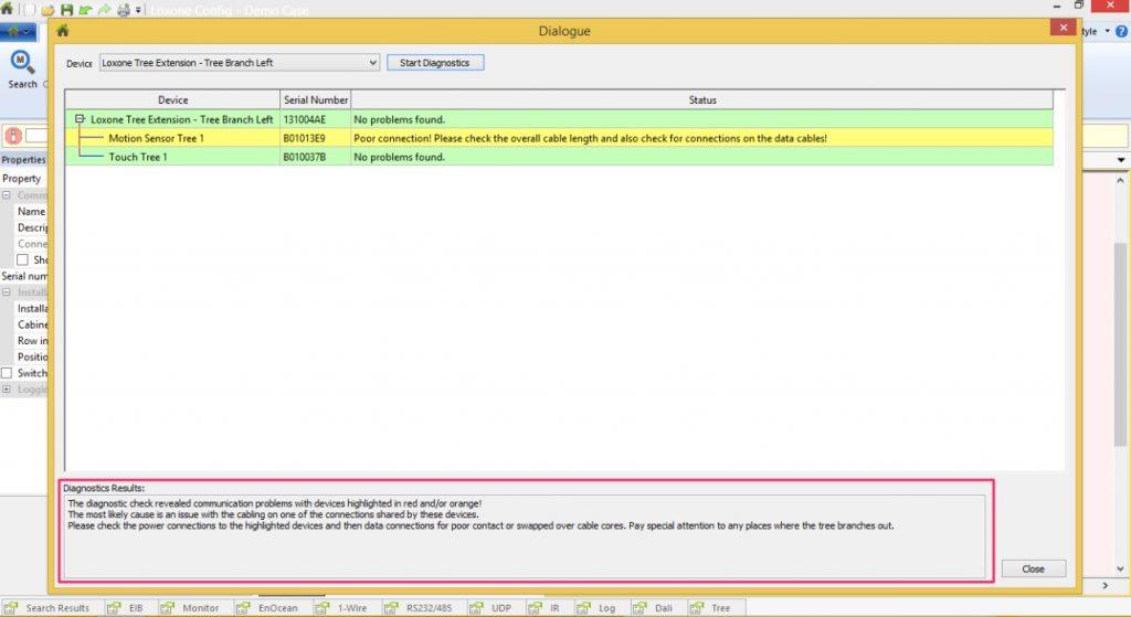 Loxone Tree Diagnostics Detailed