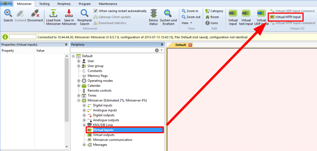 Loxone Config Virtual HTTP Input