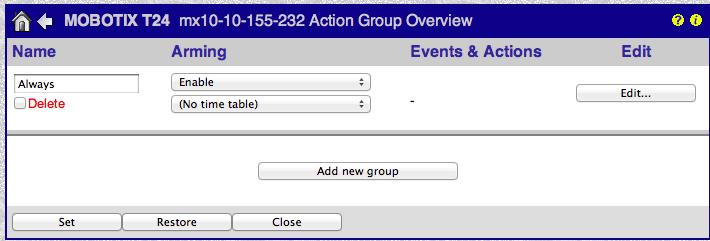 Mobotix Setup Action Group Settings