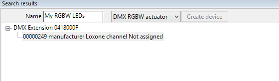 Loxone Config DMX Device Search and Found