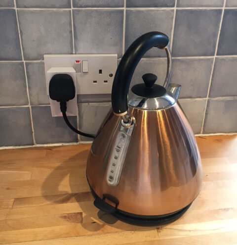Kettle Plugged Into Loxone Smart Socket Air