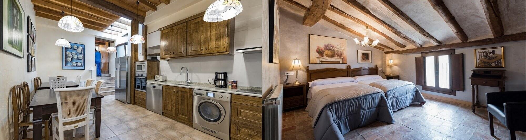 Casa Rural Navarra kitchen and bedroom
