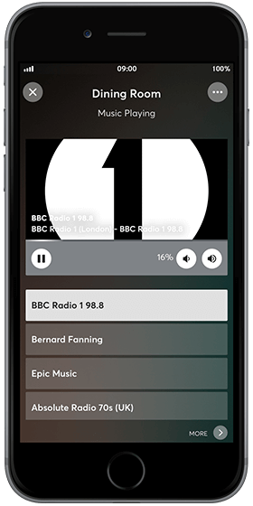 iPhone with Loxone App Music Player