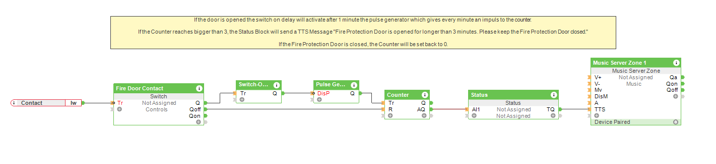 Fire Door Monitoring - Loxone Config Screenshot