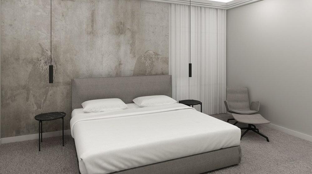 Schlafzimmer in der Loxone Wohlfühl-Wohnung
