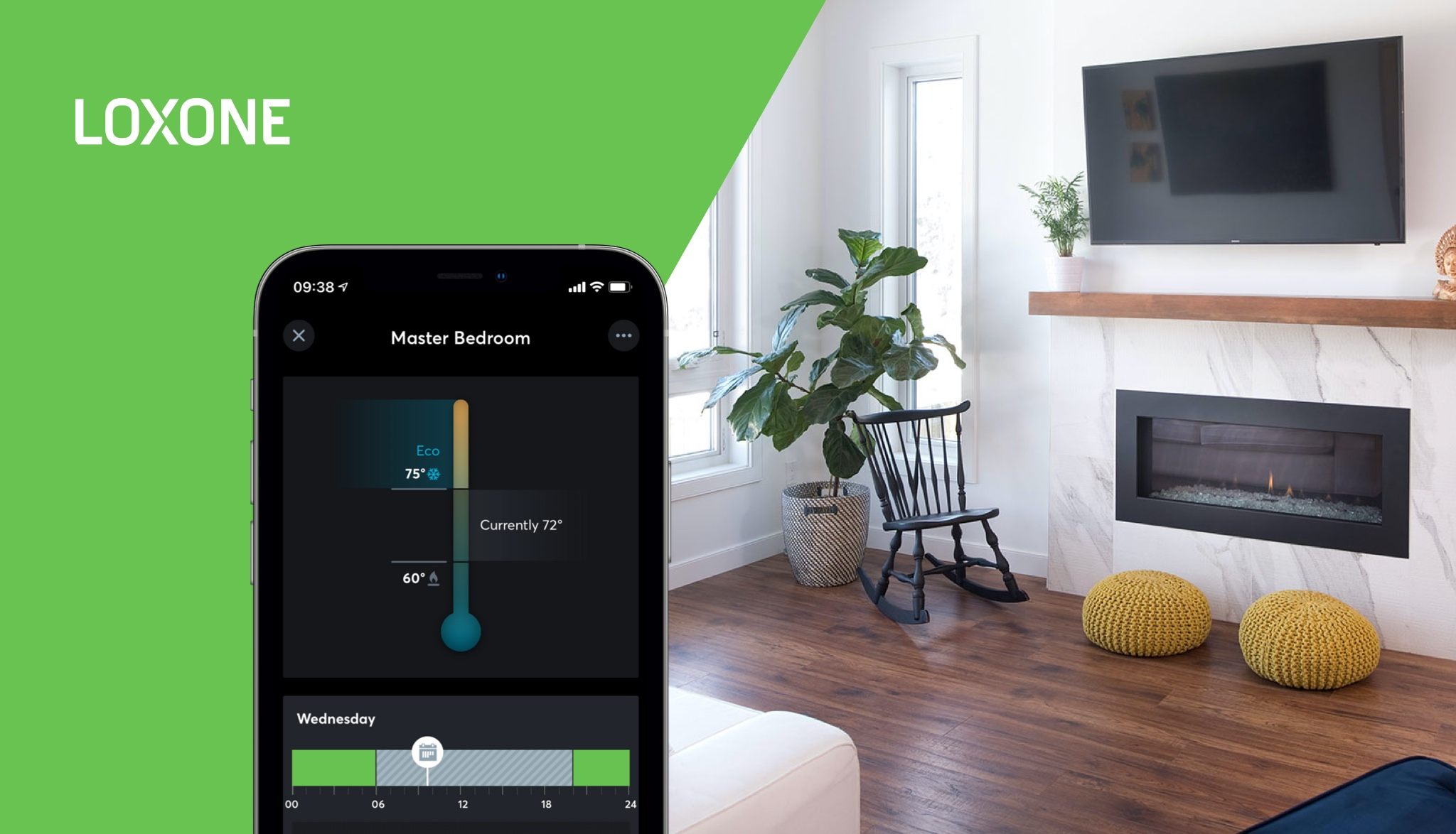 Living room with room temperature control in the Loxone App