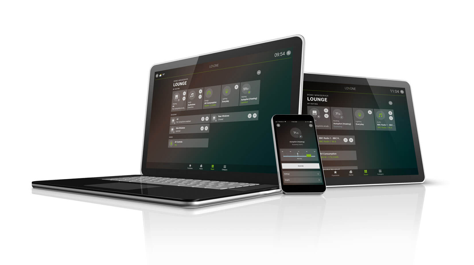 Smart Home App displayed on several devices