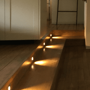 LED lighting effect along hallway floor