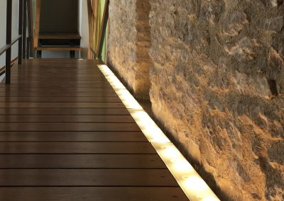 Suspended walkway with LED Strip lighting effect
