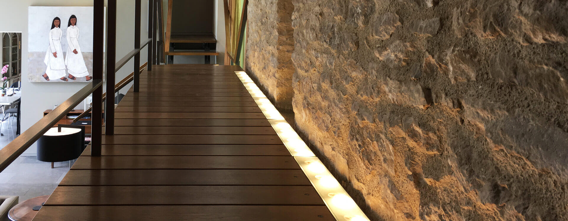 Wooden plank floor hallway with LED Strip lighting