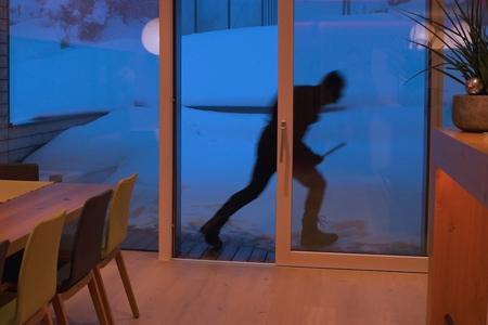 Glass door with burglar outside.