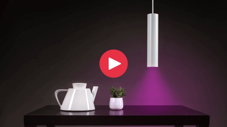 Pendulum slim creating aesthetic glow over modern tea pot and plant.