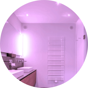 Bathroom with pink glow.