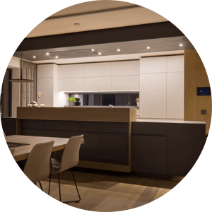 Kitchen with LED Spots above counter.