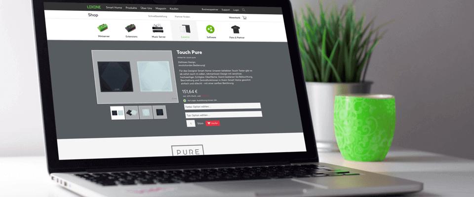 Laptop screen displaying Loxone Partner Store