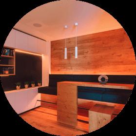 Glowing lounge area with LED Pendulum Slims