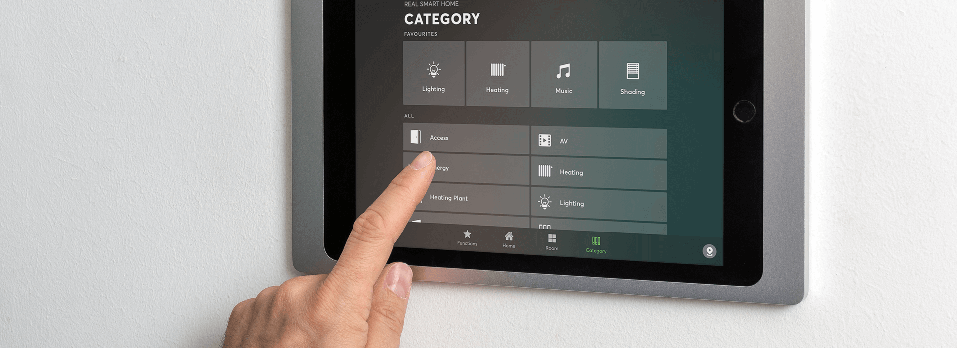 Full screen image of smart home touchscreen control panel.