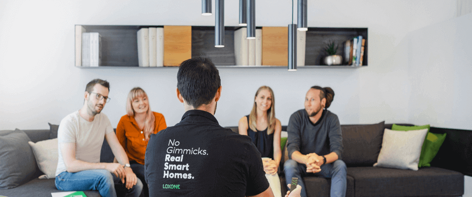 Group taking smart home tour