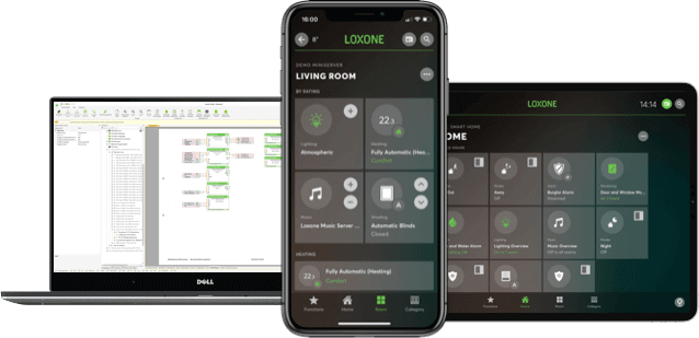 Smart devices displaying Loxone software