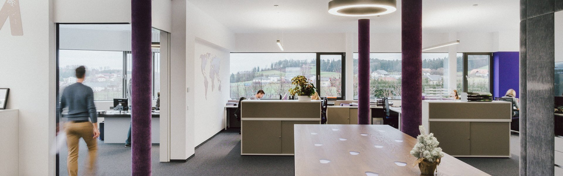 Brightly lit office space